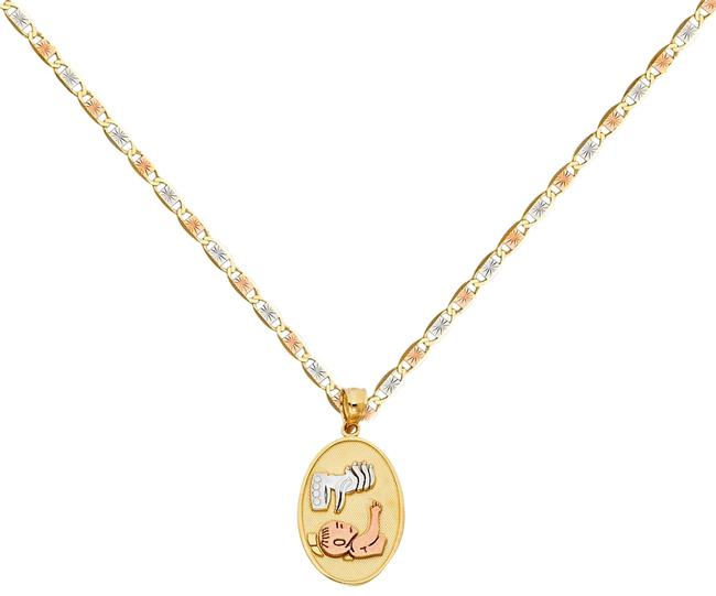 "Top Gold & Diamond Jewelry Tri Color 14k Baptism Pendant with 1.5mm Valentono Chain - 16"" Necklace Top Gold & Diamond Jewelry Tri Color 14k Baptism Pendant with 1.5mm Valentono Chain - 16"" Necklace Image 1"