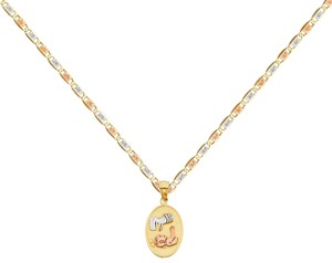 Top Gold & Diamond Jewelry 14k Tri Color Gold Baptism Pendant with 1.5mm Valentono Chain - 16
