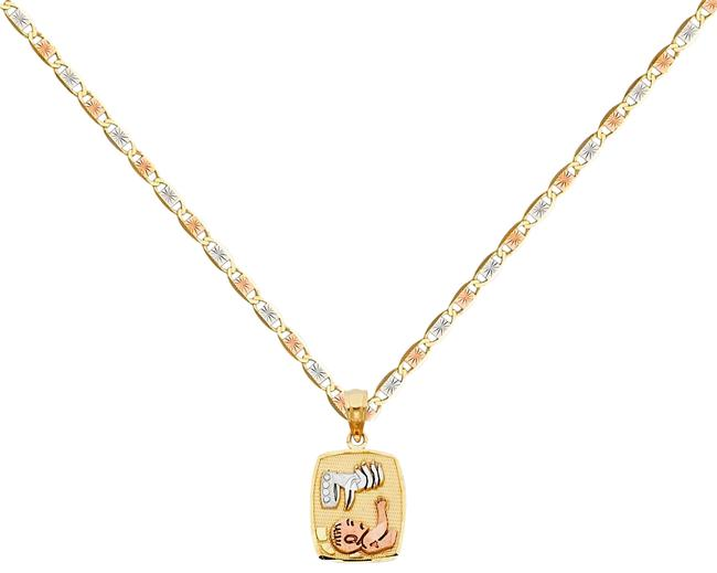 """Top Gold & Diamond Jewelry Tri Color 14k Baptism Pendant with 1.5mm Valentono Chain - 16"""" Necklace Top Gold & Diamond Jewelry Tri Color 14k Baptism Pendant with 1.5mm Valentono Chain - 16"""" Necklace Image 1"""