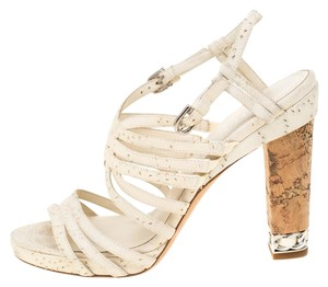 Chanel Leather Strappy White Sandals