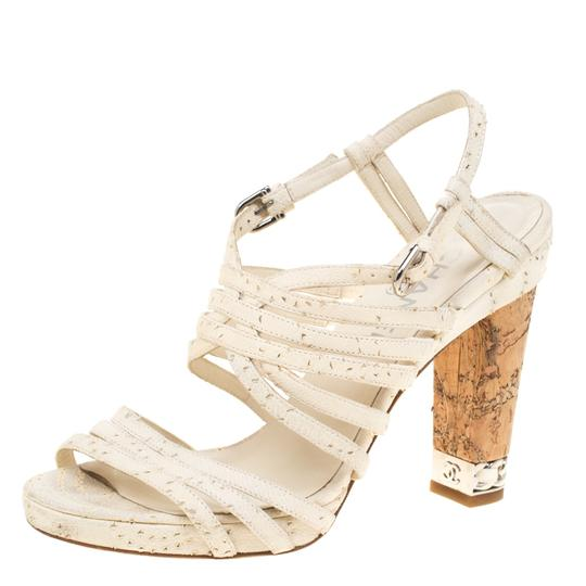 Chanel Leather Strappy White Sandals Image 1