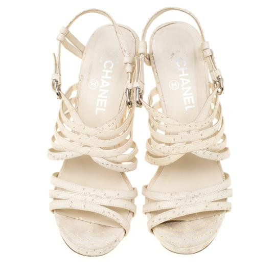 Chanel Leather Strappy White Sandals Image 2