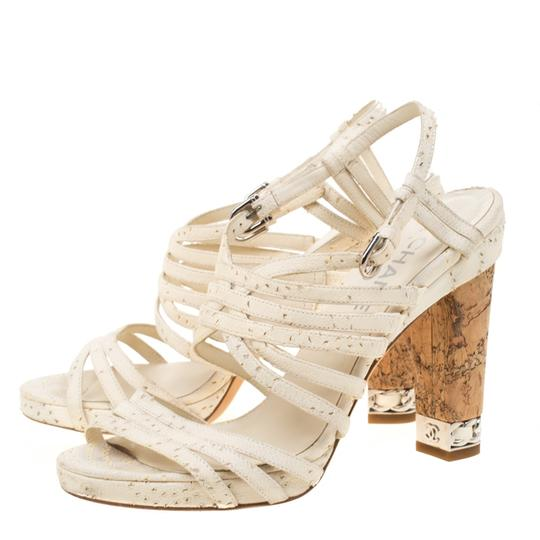 Chanel Leather Strappy White Sandals Image 3