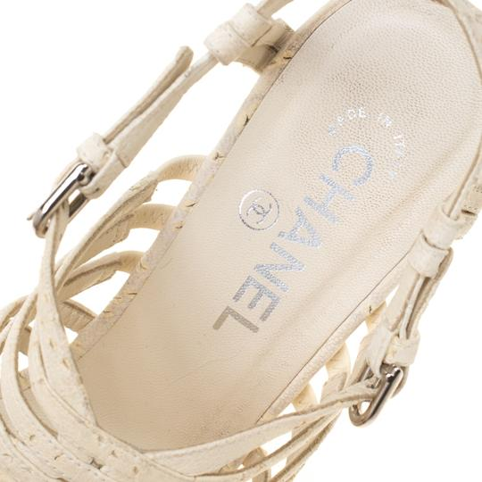 Chanel Leather Strappy White Sandals Image 7