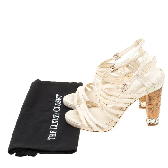Chanel Leather Strappy White Sandals Image 8