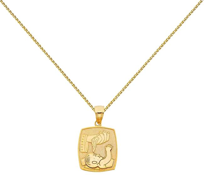 """Top Gold & Diamond Jewelry Yellow 14k Baptism Pendant with 1.5mm Flat Open Wheat Chain - 18"""" Necklace Top Gold & Diamond Jewelry Yellow 14k Baptism Pendant with 1.5mm Flat Open Wheat Chain - 18"""" Necklace Image 1"""