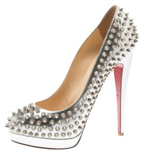 Christian Louboutin Spike Platform Leather Silver Pumps