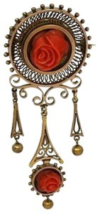 Modern Vintage Victorian 14k Yellow Gold and Hand Carved Red Coral Flower Pin Brooch