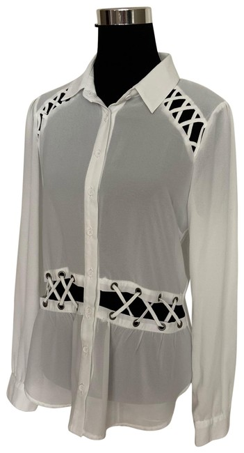 Preload https://img-static.tradesy.com/item/26024111/material-girl-white-sheer-blouse-size-12-l-0-4-650-650.jpg