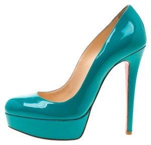 Christian Louboutin Patent Leather Platform Green Pumps