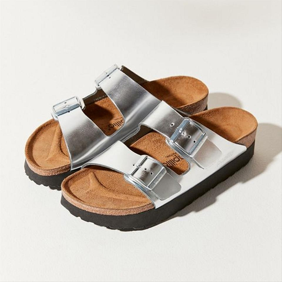 Birkenstock Metallic Silver Papillio Arizona Platform Sandals Size US 8 Regular (M, B)