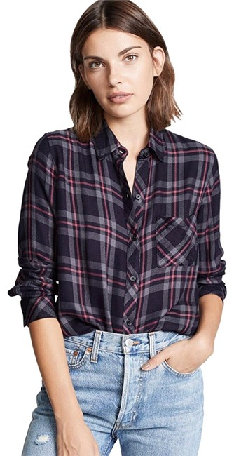 Item - Coal Grey Rose Hunter Flannel Plaid Shirt Button-down Top Size 2 (XS)