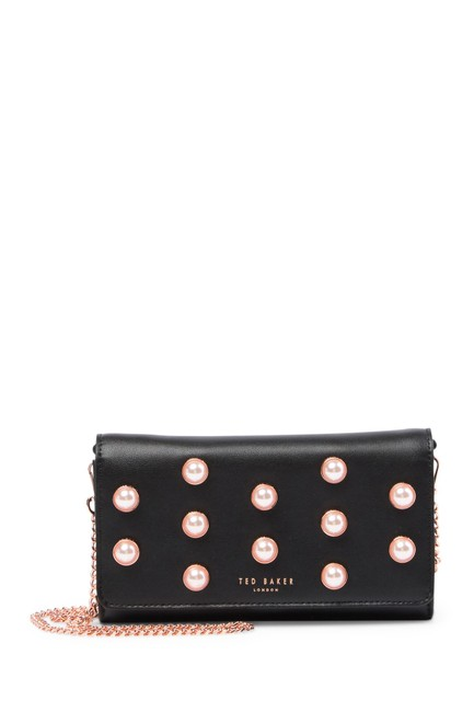 Ted Baker Wallet on Chain Steff Faux Pearl Stud Matinee Black Leather Cross Body Bag Ted Baker Wallet on Chain Steff Faux Pearl Stud Matinee Black Leather Cross Body Bag Image 1