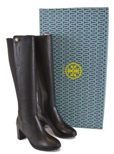 Tory Burch Riding Winter Leather Knee High Black Boots