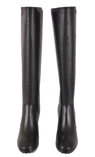 Tory Burch Riding Winter Leather Knee High Black Boots Image 2