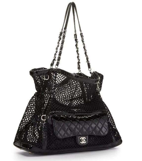 Chanel Side Pack Classic Flap In 1 Cruise Mesh Woven Crochet Tote Black Patent Leather and Nylon Shoulder Bag Chanel Side Pack Classic Flap In 1 Cruise Mesh Woven Crochet Tote Black Patent Leather and Nylon Shoulder Bag Image 1