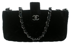 Chanel Black Quilted Velvet iPhone Pouch