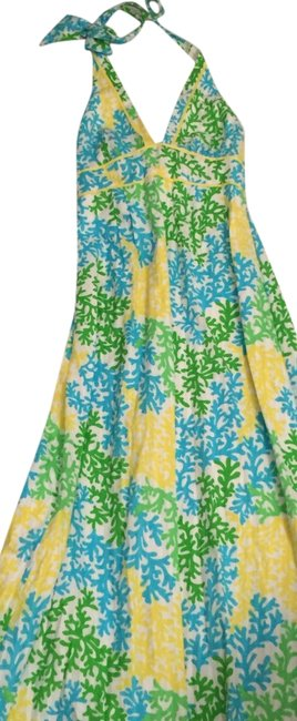 Item - Green Blue White Yellow Halter Long Casual Maxi Dress Size 4 (S)