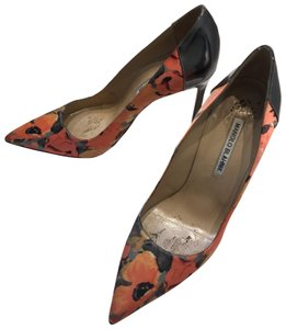 Manolo Blahnik Floral with silver heel detail Pumps