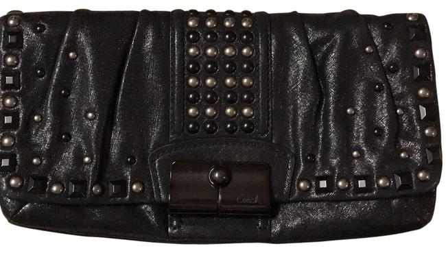 Coach 15359 Kristen Studded Black Textured Leather Clutch Coach 15359 Kristen Studded Black Textured Leather Clutch Image 1