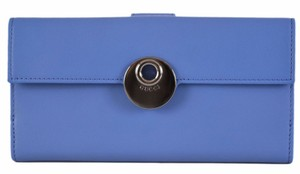 Gucci New Gucci Smooth BLUE Leather Continental W/Coin Wallet