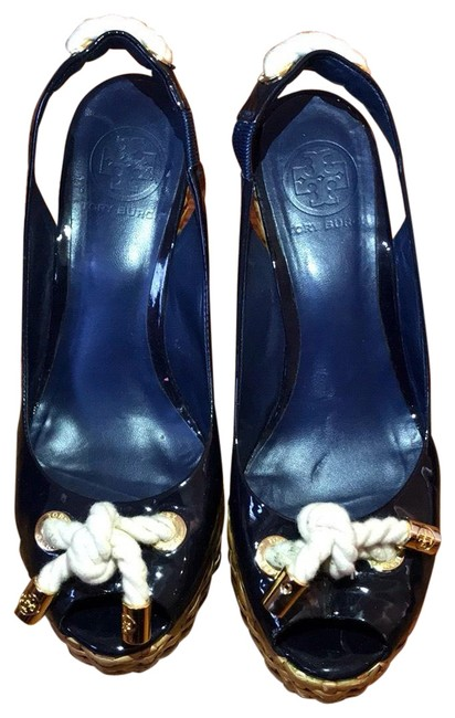 Tory Burch Navy Blue Sandals Wedges Size US 7 Regular (M, B) Tory Burch Navy Blue Sandals Wedges Size US 7 Regular (M, B) Image 1