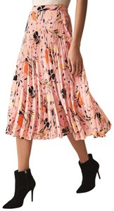 Reiss Pleated Floral Skirt Pink