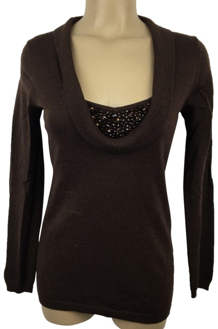 Preload https://img-static.tradesy.com/item/26025044/vertigo-paris-sequin-fold-neck-brown-sweater-0-1-650-650.jpg