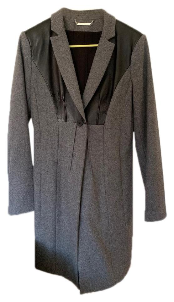 enjoy best price stable quality no sale tax Grey Leather-paneled Wool Coat