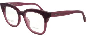 Jimmy Choo JC176-197-49 Square Women's Plum Glitter Frame Clear Lens Eyeglasses