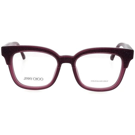 Jimmy Choo JC176-197-49 Square Women's Plum Glitter Frame Clear Lens Eyeglasses Image 1