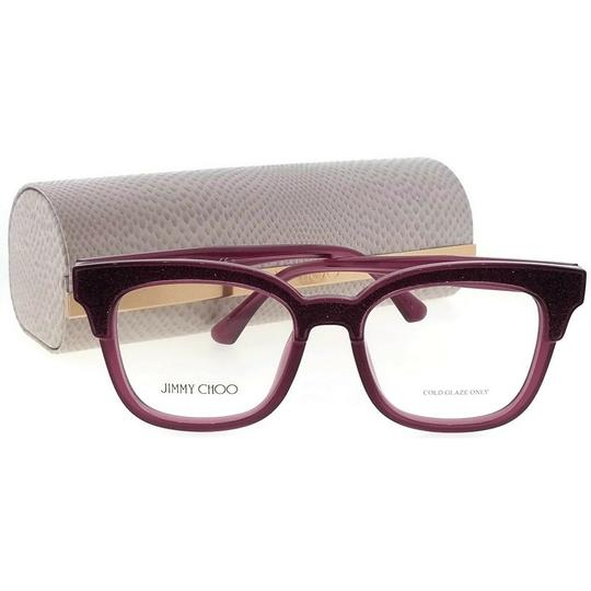 Jimmy Choo JC176-197-49 Square Women's Plum Glitter Frame Clear Lens Eyeglasses Image 4