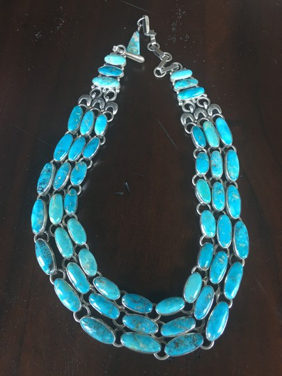 Preload https://img-static.tradesy.com/item/26025271/turquoise-and-sterling-silver-3-strand-24-necklace-0-0-540-540.jpg