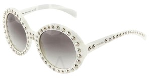 Prada ORNATE Round Sunglasses PR29QS White Silver Stud Women PR 29Q
