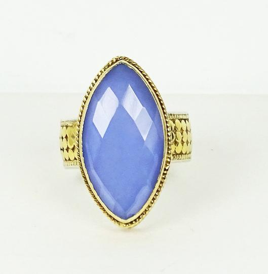 Anna Beck ANNA BECK Sterling 18K Gold Faceted Lavender Chalcedony Ring Sz 7 Image 2