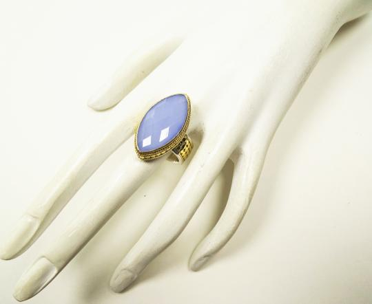 Anna Beck ANNA BECK Sterling 18K Gold Faceted Lavender Chalcedony Ring Sz 7 Image 5
