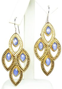 anna beck ANNA BECK Gili Sterling 18K Gold Faceted Chalcedony Chandelier Earring
