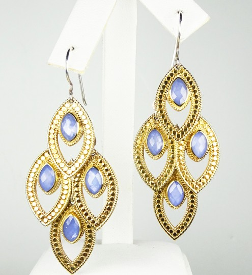 anna beck ANNA BECK Gili Sterling 18K Gold Faceted Chalcedony Chandelier Earring Image 1