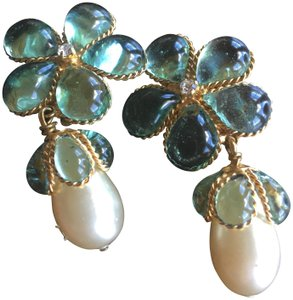 Chanel Chanel green stone, pearl &diamond clip on dangle earrings