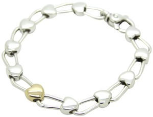Tiffany & Co. Italy Continuous Hearts 18K Gold and 925 Sterling Silver Bracelet