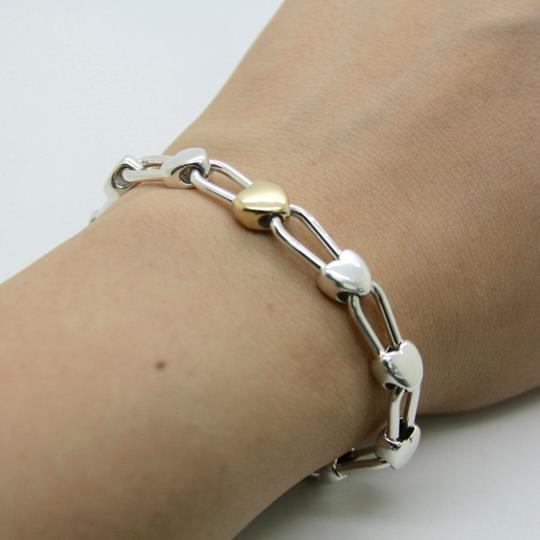 Tiffany & Co. Italy Continuous Hearts 18K Gold and 925 Sterling Silver Bracelet Image 4