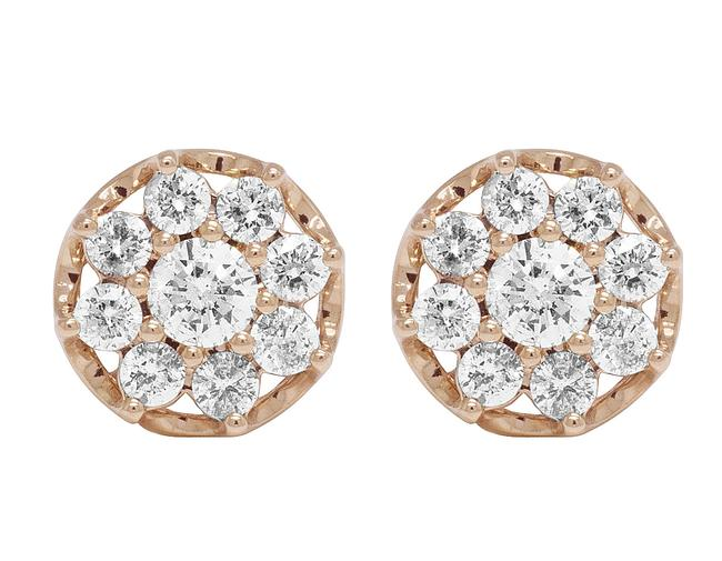 Jewelry Unlimited 10k Rose Gold Diamond Flower Cluster Prong Stud 11mm 1.5 Ct Earrings Jewelry Unlimited 10k Rose Gold Diamond Flower Cluster Prong Stud 11mm 1.5 Ct Earrings Image 1