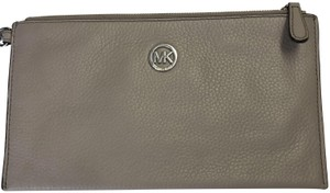 MICHAEL Michael Kors Wristlet Pebble Leather Taupe Clutch