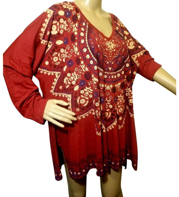 Preload https://img-static.tradesy.com/item/26025690/lucky-brand-maroon-red-loose-tunic-long-sleeve-boho-mandala-blouse-size-26-plus-3x-0-7-650-650.jpg