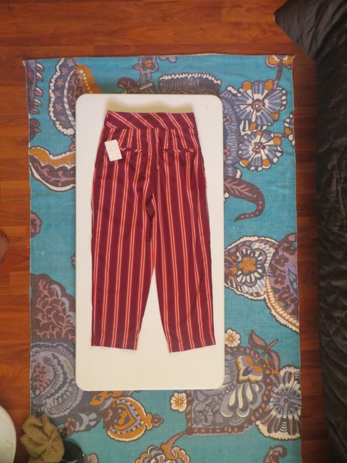 Free People Striped Capri/Cropped Pants Red Image 1