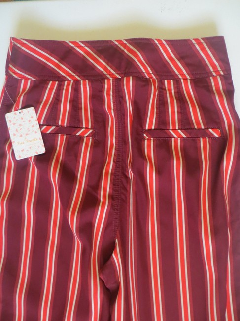 Free People Striped Capri/Cropped Pants Red Image 2