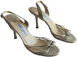 Jimmy Choo Heels Strappy Champagne Gold Sandals