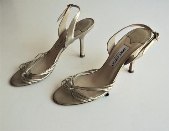 Jimmy Choo Heels Strappy Champagne Gold Sandals Image 1