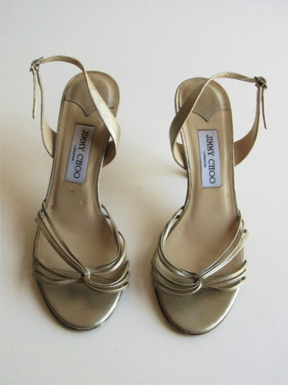 Jimmy Choo Heels Strappy Champagne Gold Sandals Image 2