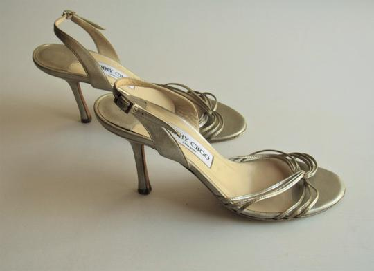 Jimmy Choo Heels Strappy Champagne Gold Sandals Image 3